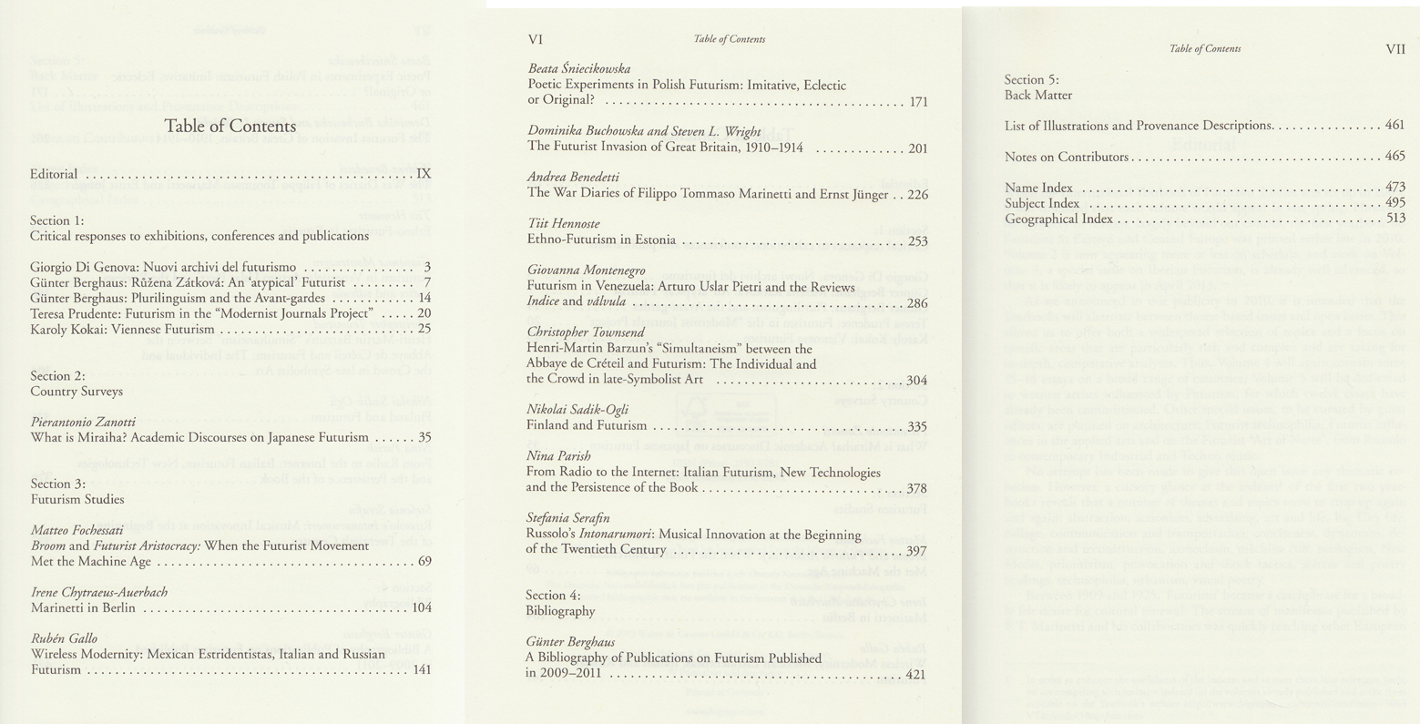 2012 Yearbook Table of Contents