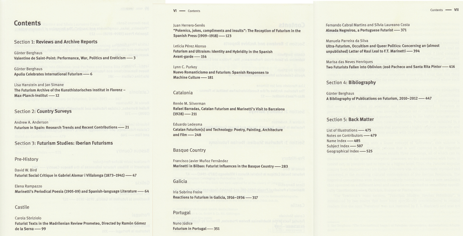 2013 Yearbook Table of Contents
