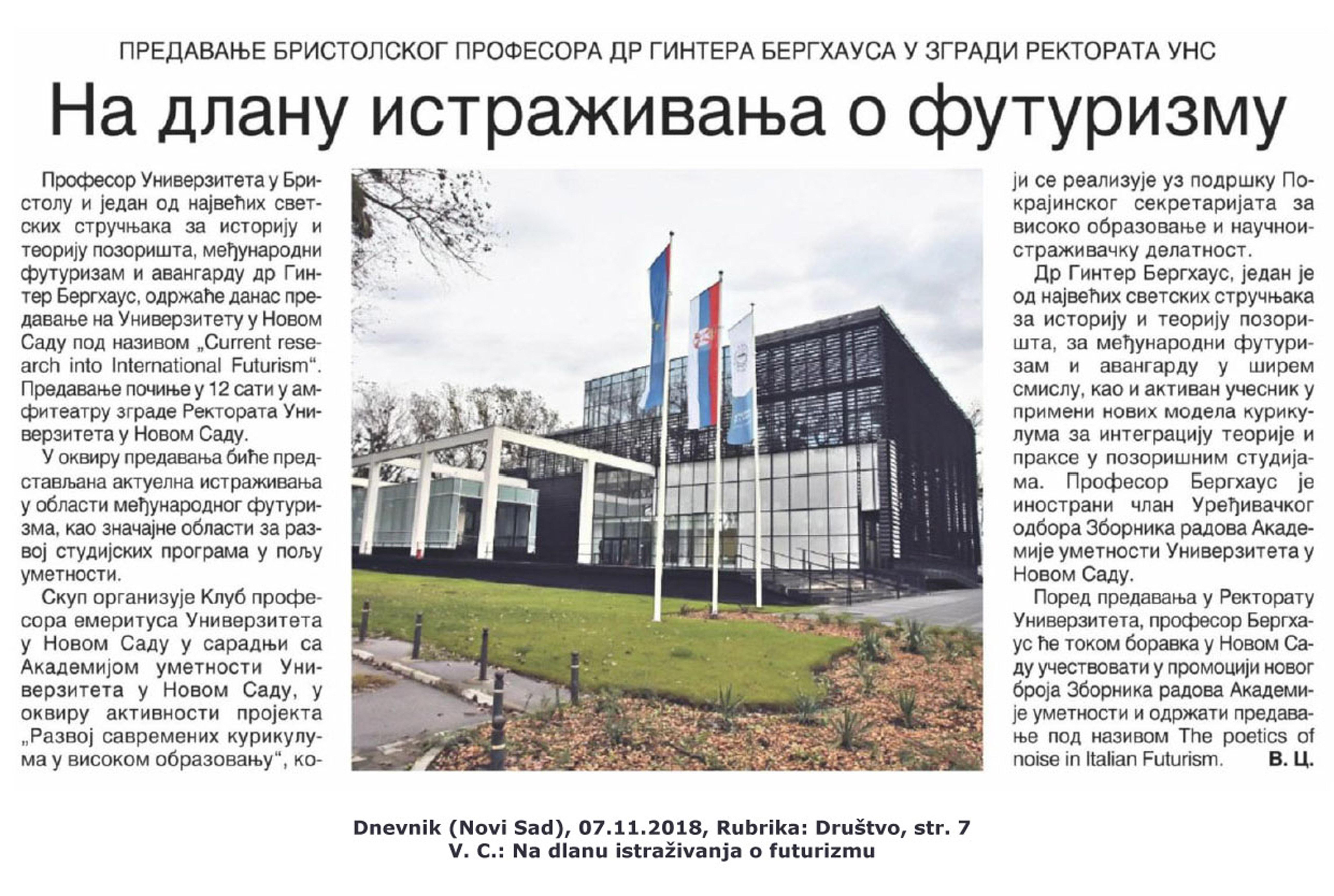 2018 Novi Sad DNEVNIK. Na dlanu istrazivanja o futurizmu_Ginter Berghaus.jpg