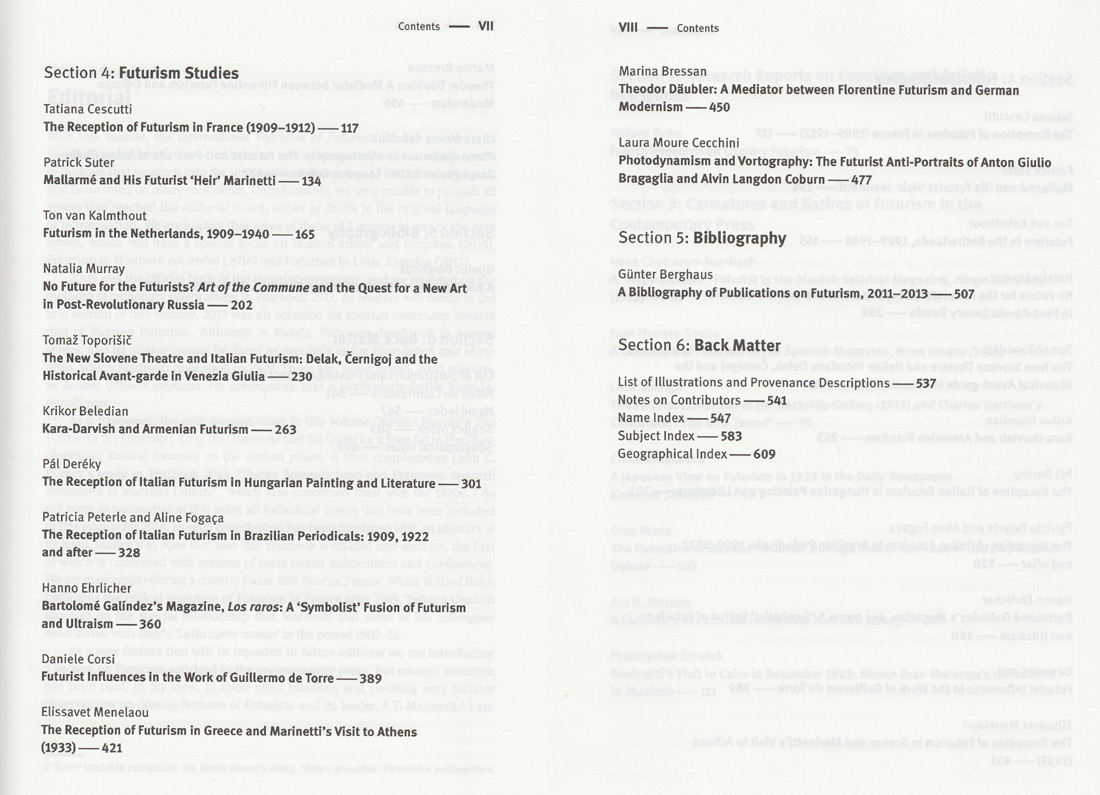 2014 Yearbook Table of Contents