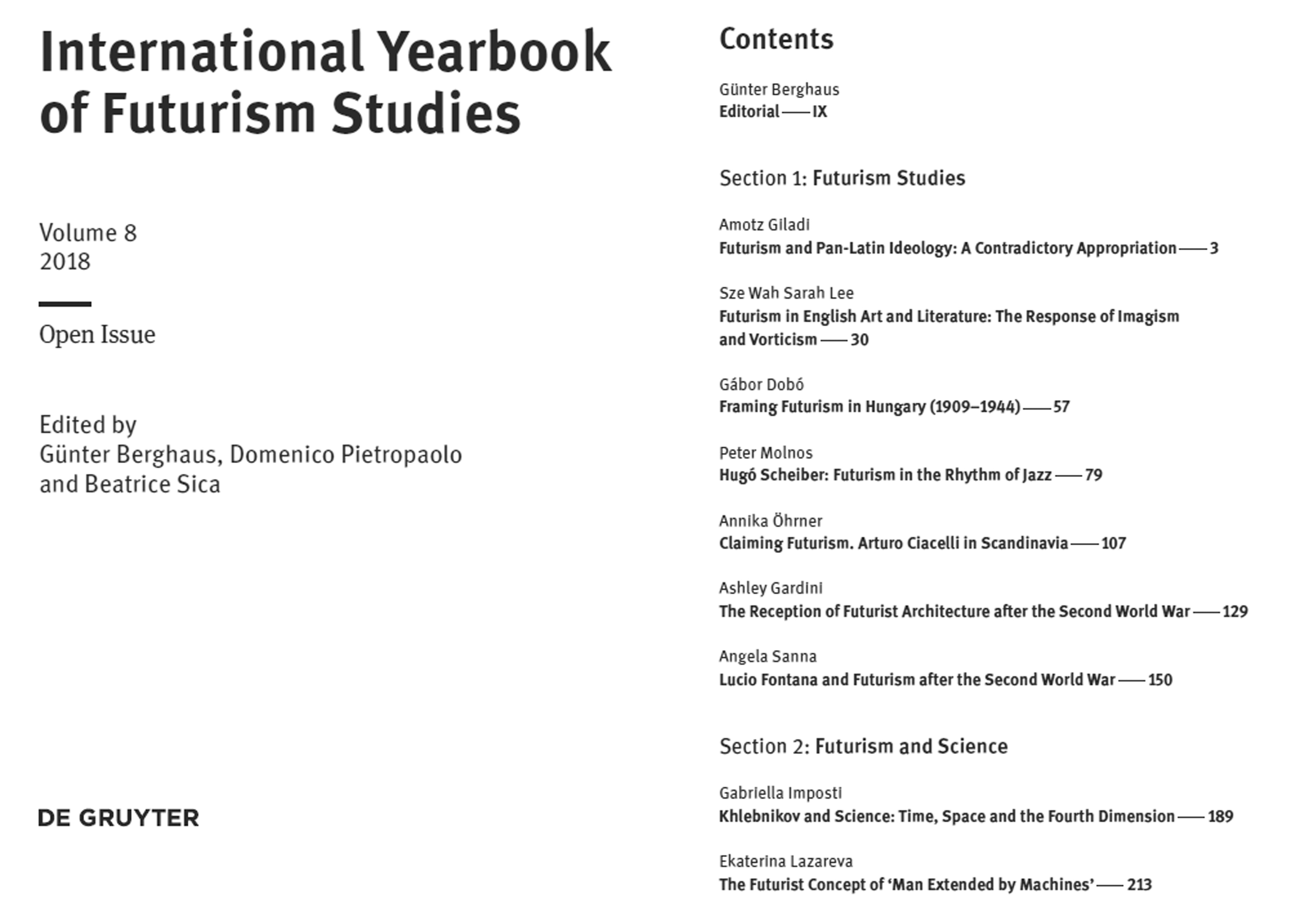 2018 Yearbook Table of Contents